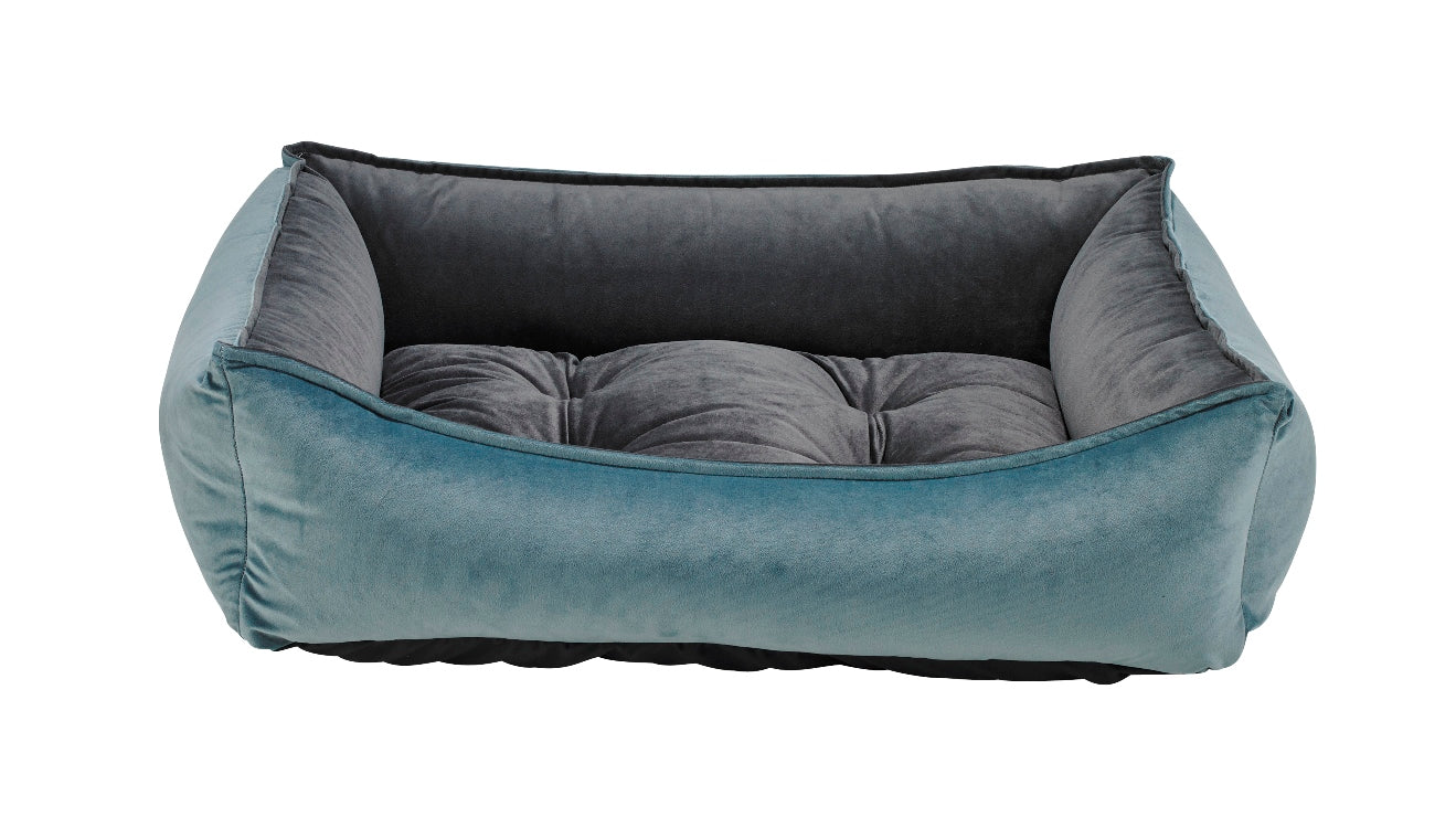Harbor Blue MicroVelvet Scoop Bed
