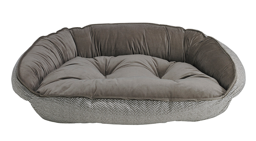 Herringbone Microvelvet Crescent Bed
