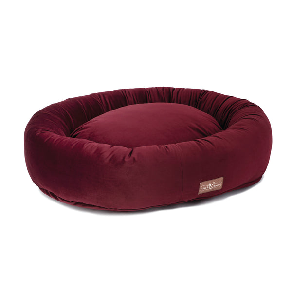 Vintage Maroon Donut Dog Bed
