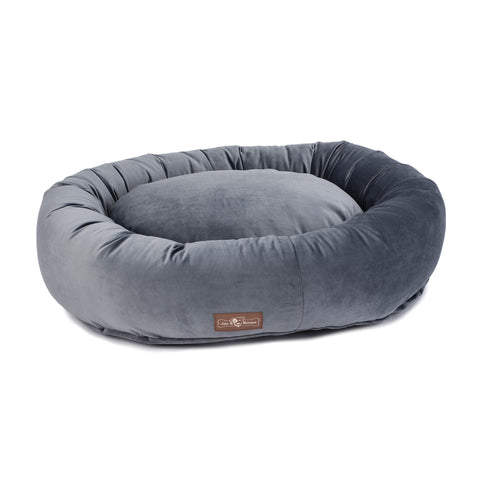 Vintage Titanium Plush Velour Donut Bed