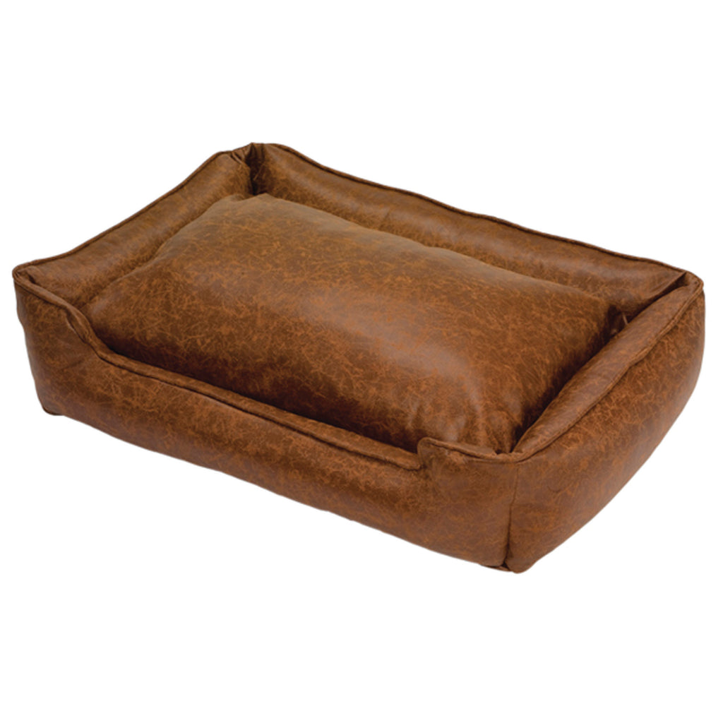 Natural Vintage Faux Leather Lounge Bed