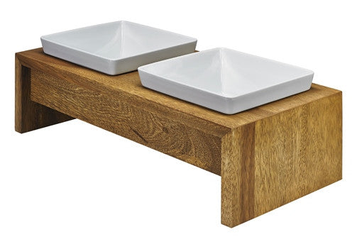 Modern Artisan Raised Bamboo Dog Bowls