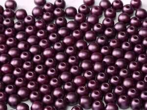 2mm - Round Glass - Pastel Bordeaux - Beading Amazing