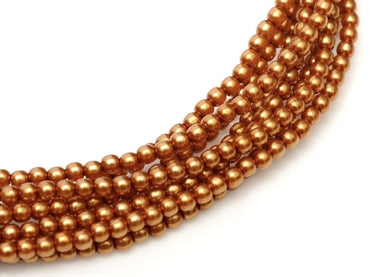 2mm - Glass Pearls - Copper - Beading Amazing