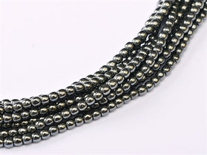 2mm - Pressed Glass - Hematite - Beading Amazing