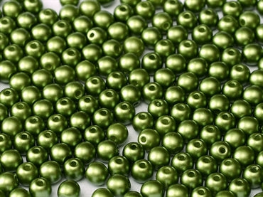 2mm - Round Glass - Pastel Olivine - Beading Amazing