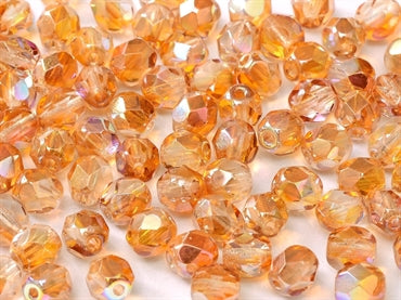3mm Fire Polished - Orange Rainbow - Beading Amazing