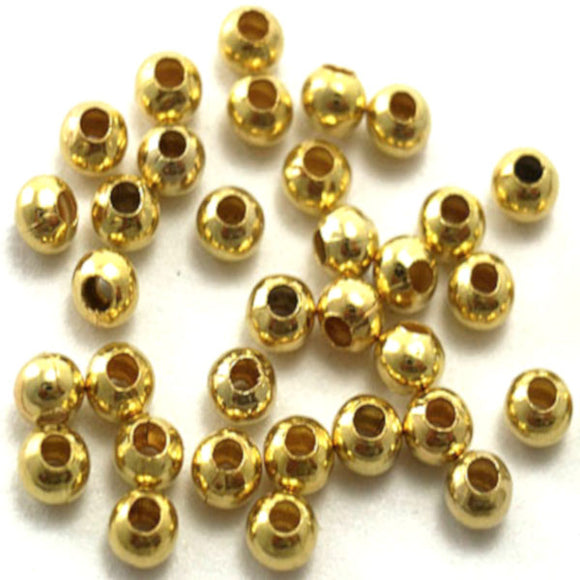 3mm Plain Round Spacers (Gold) - Beading Amazing