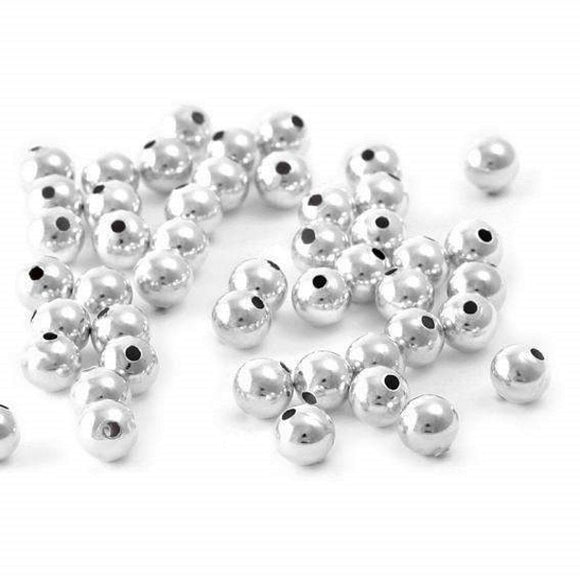 3mm Plain Round Spacers (Silver) - Beading Amazing