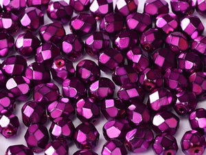H.M.Fuschia 4mm Fire Polished - Beading Amazing