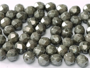 Chk.Grey Lustre 6mm Fire Polished - Beading Amazing