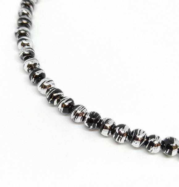 6mm Black & Silver Drawbench Glass Beads - Beading Amazing