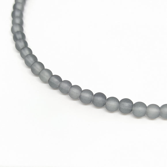 6mm Grey Frosted Glass Beads - Beading Amazing