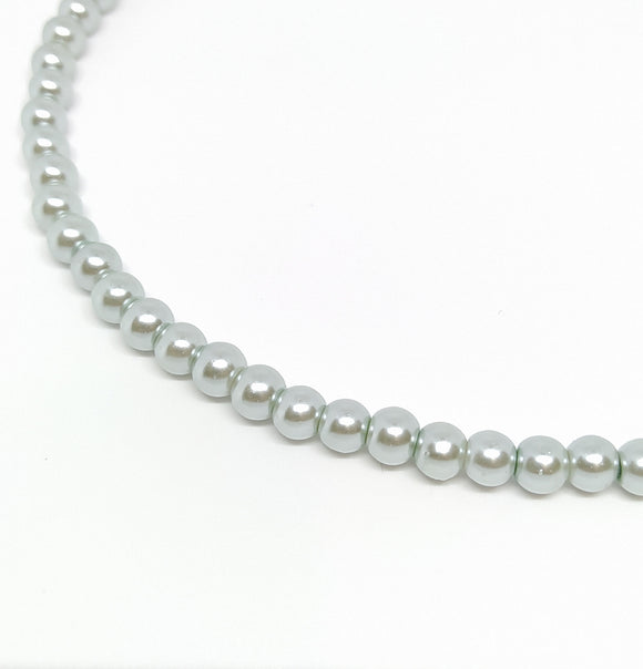 6mm Light Silver Glass Pearls - Beading Amazing