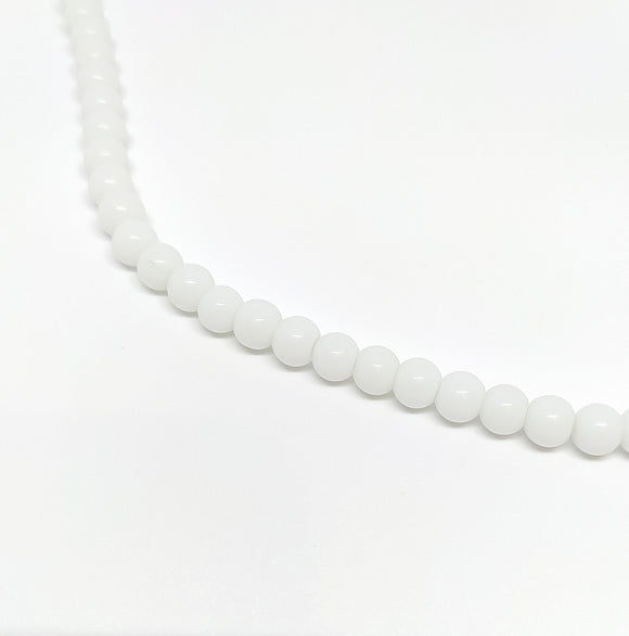 6mm White Opaque Glass Beads - Beading Amazing