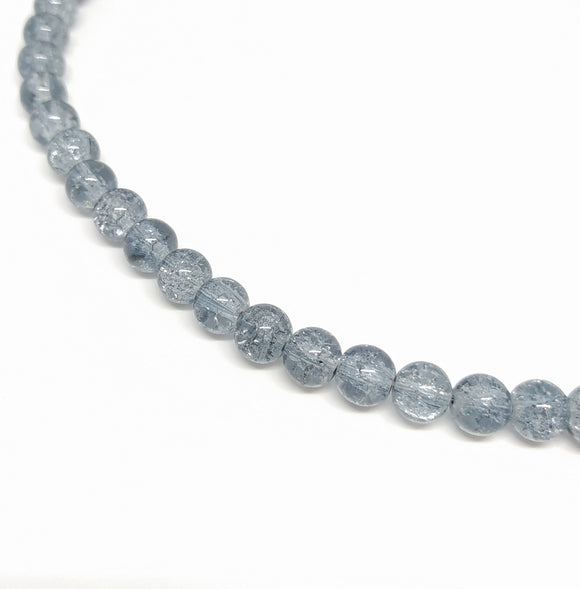 8mm Grey Crackle Glass Beads - Beading Amazing