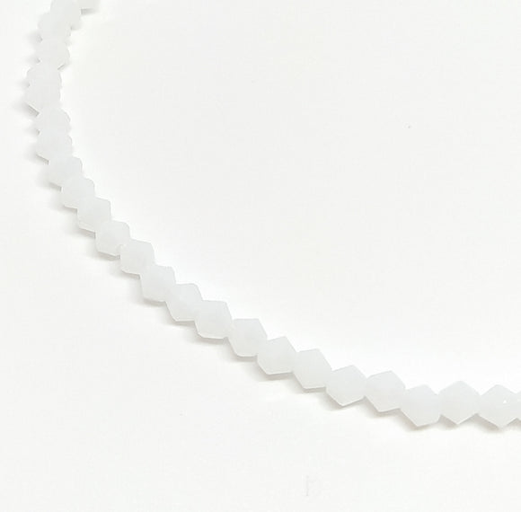 4mm Crystal Bicone Opaque White - Beading Amazing