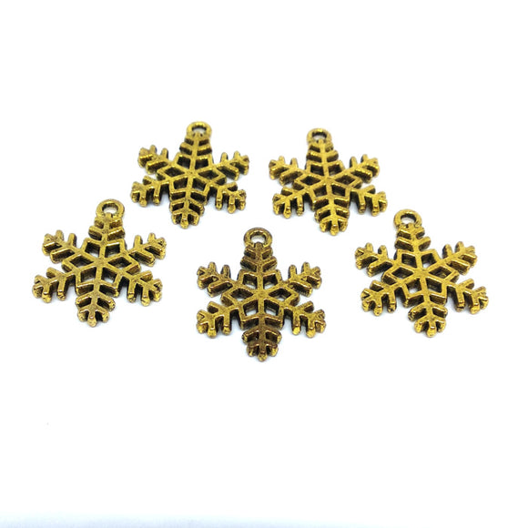 Snowflake Charms (Antique Gold) - Beading Amazing