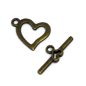 Bronze Individual Heart Toggle Set - Beading Amazing