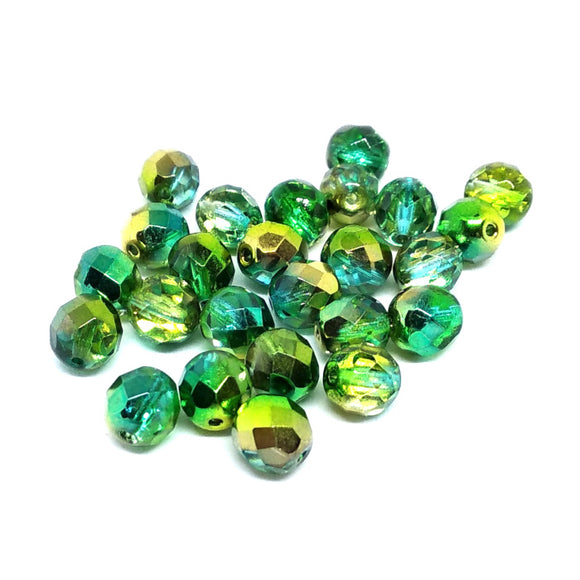 Magic Summer Green 8mm Fire Polished Crystals - Beading Amazing