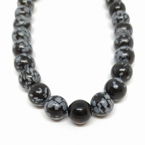 Gemstone - Snowflake Obsidian - 10mm Rounds - Beading Amazing