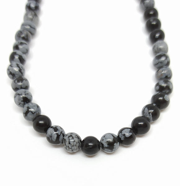 Gemstone - Snowflake Obsidian - 4mm Rounds - Beading Amazing