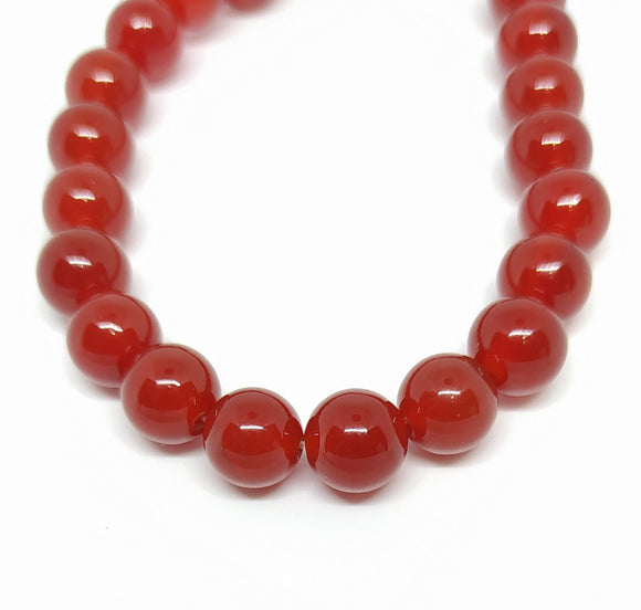Gemstone - Carnelian (Dyed) Grade A - 8mm Rounds - Beading Amazing