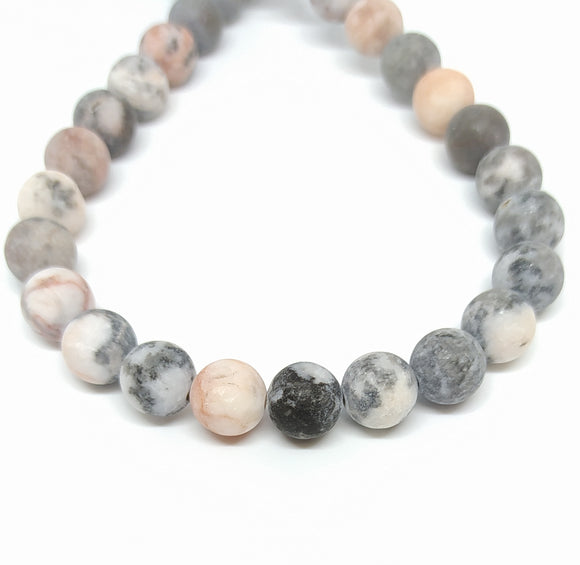 Gemstone - Zebra Jasper Frosted - 8mm Rounds - Beading Amazing