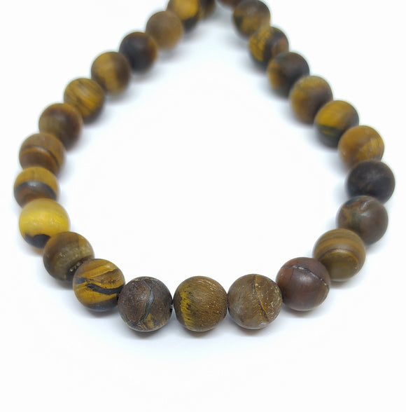 Gemstone - Tiger's Eye Frosted- 8mm Rounds - Beading Amazing