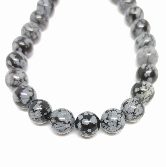 Gemstone - Snowflake Obsidian - 8mm Rounds - Beading Amazing