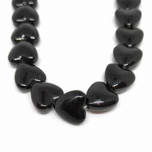 Gemstone - Black Agate - 12mm Hearts - Beading Amazing