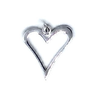 Large Heart Charm Sterling Silver - Beading Amazing