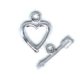 Small Silver Heart Toggle Set Sterling Silver - Beading Amazing