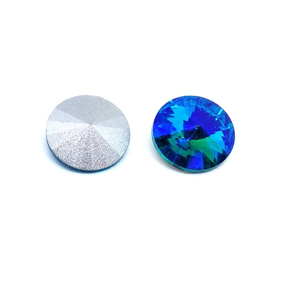 12mm Rivoli Blue Green Mix - Beading Amazing