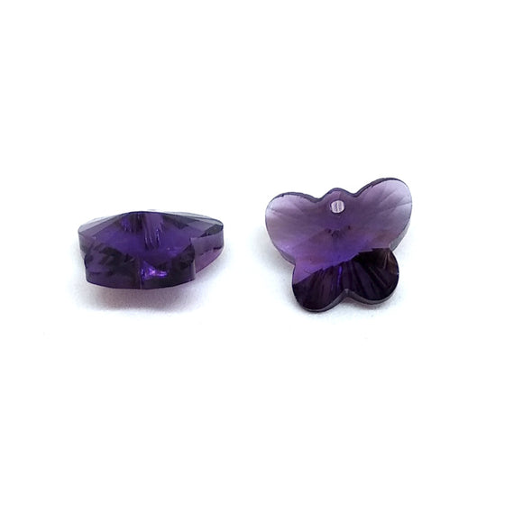 15mm Faceted Glass Beads Butterfly Purple - Beading Amazing