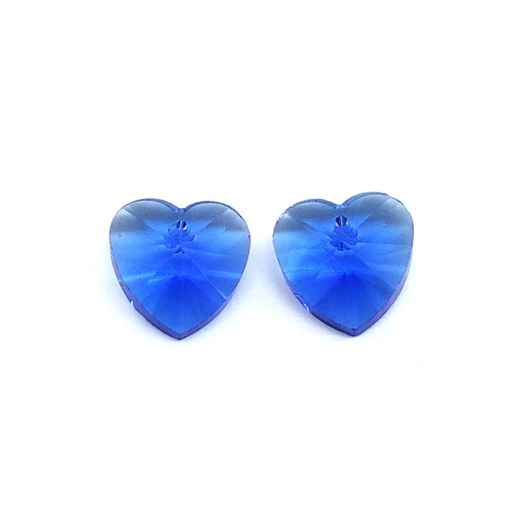 15mm Faceted Glass Beads Heart Md Blue - Beading Amazing