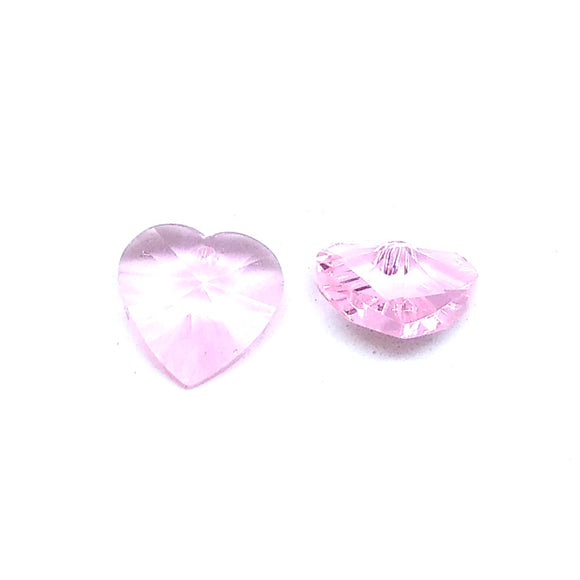 15mm Faceted Glass Beads Heart Pink - Beading Amazing