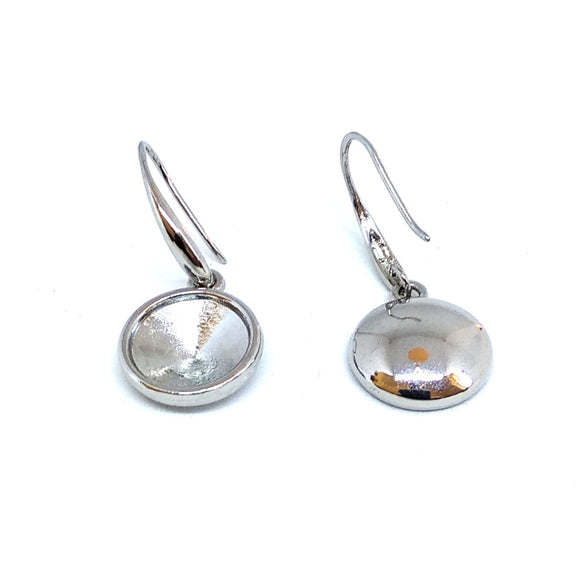 12mm Rivoli Holders with Fancy Earwires Silver - Beading Amazing