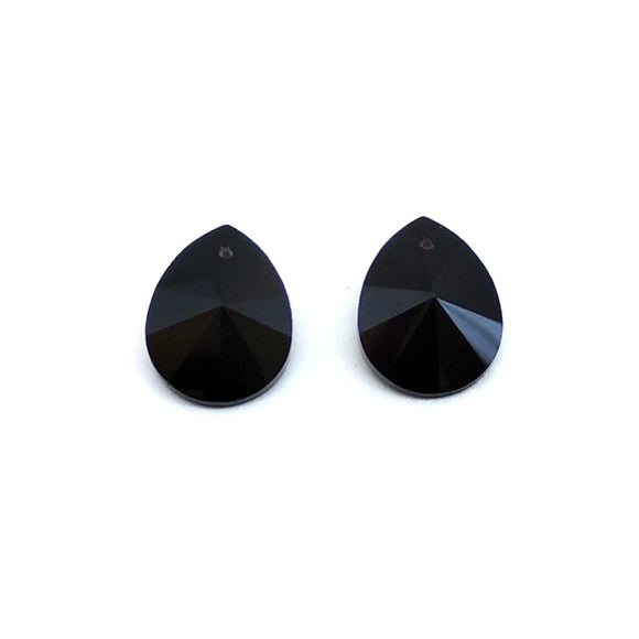 15mm Faceted Glass Beads Peardrop Black - Beading Amazing