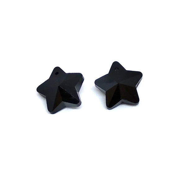 15mm Faceted Glass Beads Star Black - Beading Amazing