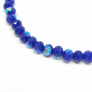 6 x 4mm Faceted Rondelles Opaque Royal Blue AB - Beading Amazing