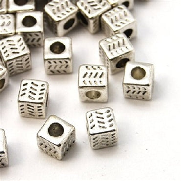 Silver Square Cube Spacers - Beading Amazing