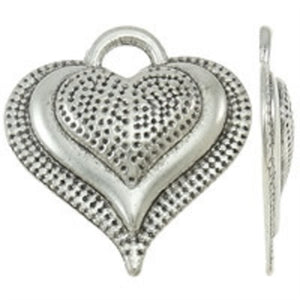 Small Raised Heart Pendant - Antique Silver - Beading Amazing