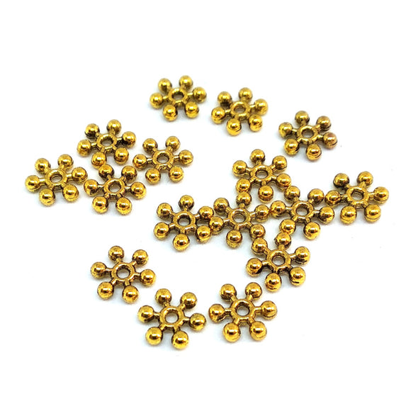Gold 7mm Snowflake Spacers - Beading Amazing