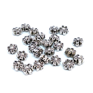 Antique Silver Flower Spacer Beads - Beading Amazing