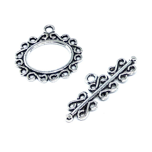 Antique Silver Individual Scroll Toggle Set - Beading Amazing