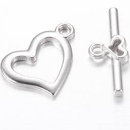 Plain Silver Heart Toggle Set - Beading Amazing