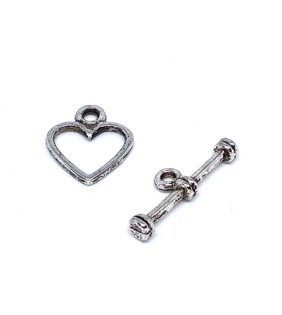 Small Silver Heart Toggle Clasps - Beading Amazing
