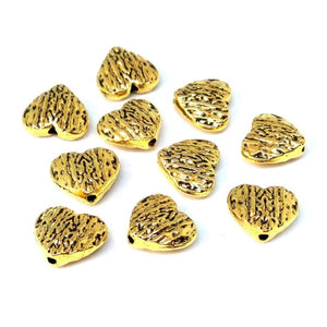 Gold Heart Metal Spacer Beads - Beading Amazing