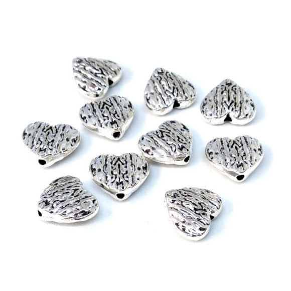 Silver Heart Metal Spacer Beads - Beading Amazing